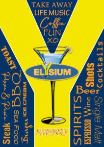 Speisekarte Elysium Blau