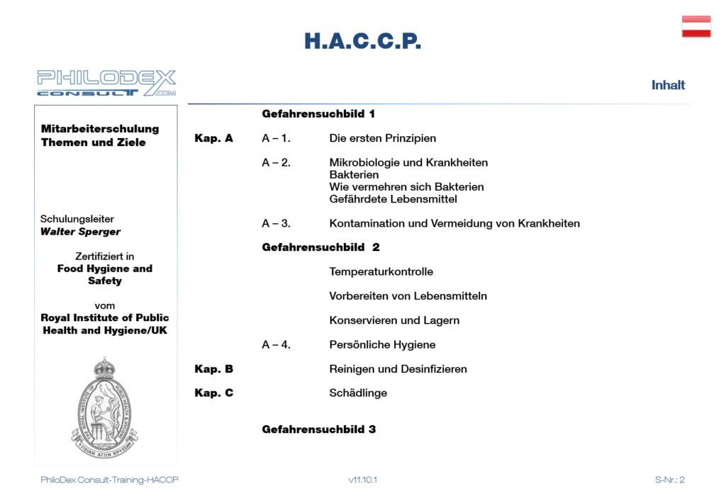 HACCP Schulungen - Erste Prinzipien